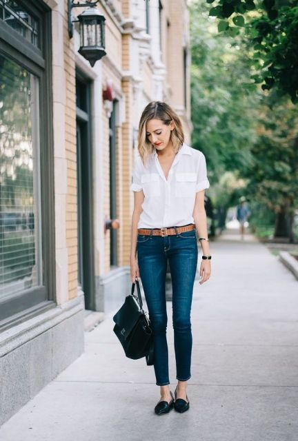 With cropped jeans, brown belt, black bag and black flats
