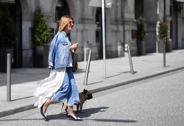 With denim jacket, white shirt and black embellished low heeled shoes