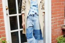 With denim ruffled top, beige trench coat and brown heeled mules