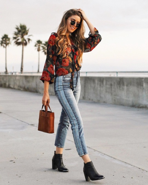 With floral blouse, brown leather bag and black boots