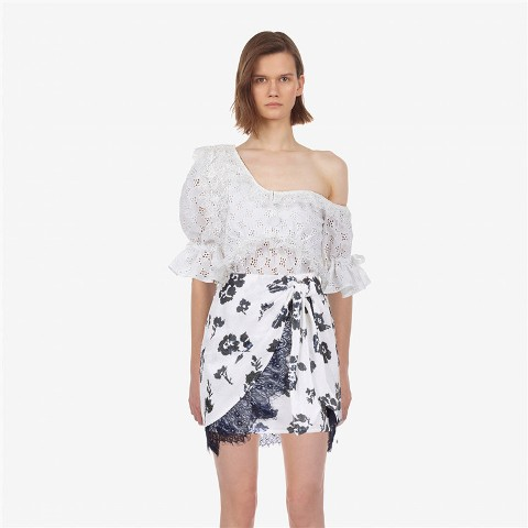 With gray and white floral wrap mini skirt