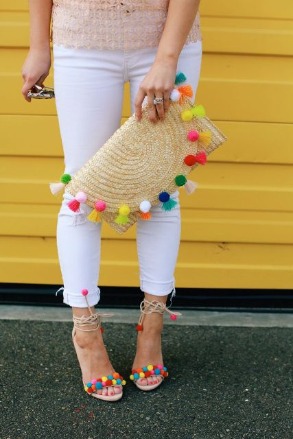 With lace blouse, white cuffed pants and pom pom sandals