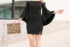 With leopard clutch and ankle strap shoes