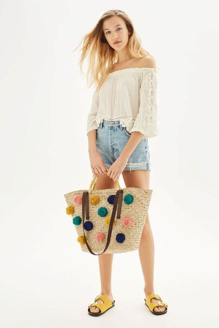 With off the shoulder blouse, denim shorts and yellow flat sandals
