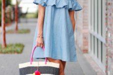 With off the shoulder dress and brown ankle strap platform sandals