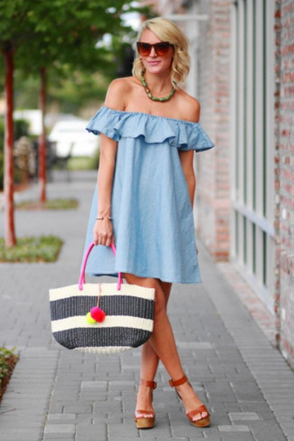 With off the shoulder dress and brown ankle strap platform sandals