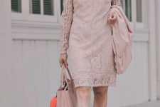 With pale pink lace knee-length dress and platform sandals