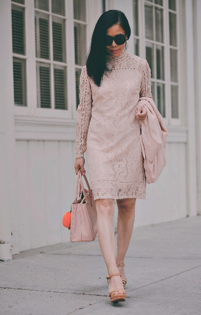 With pale pink lace knee length dress and platform sandals
