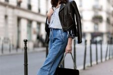 With printed shirt, black leather jacket, chain strap bag and black ankle strap shoes