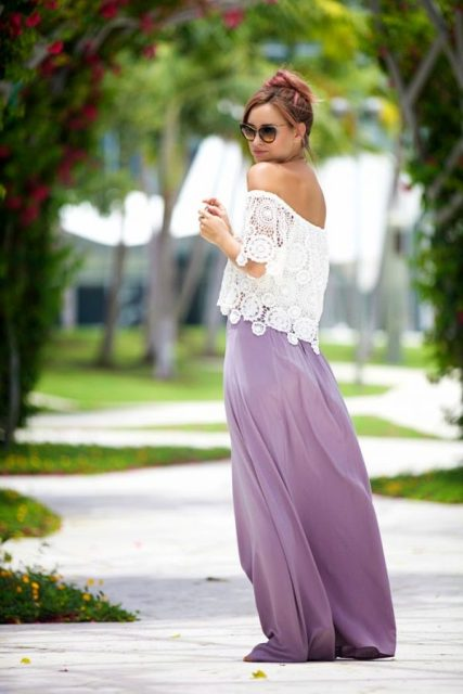 With purple maxi skirt