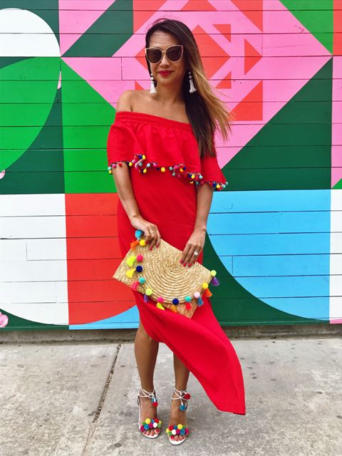 With red pom pom maxi dress and ankle strap high heels