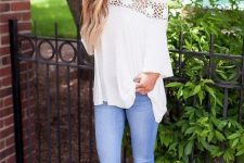 With skinny jeans and beige heeled sandals