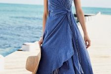 With straw hat and flat sandals