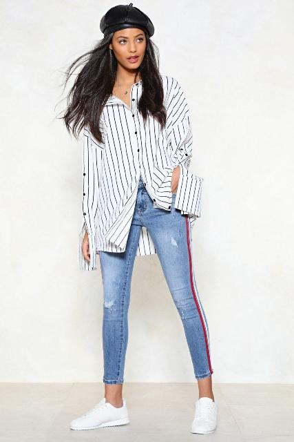 With striped long shirt, black beret and white sneakers