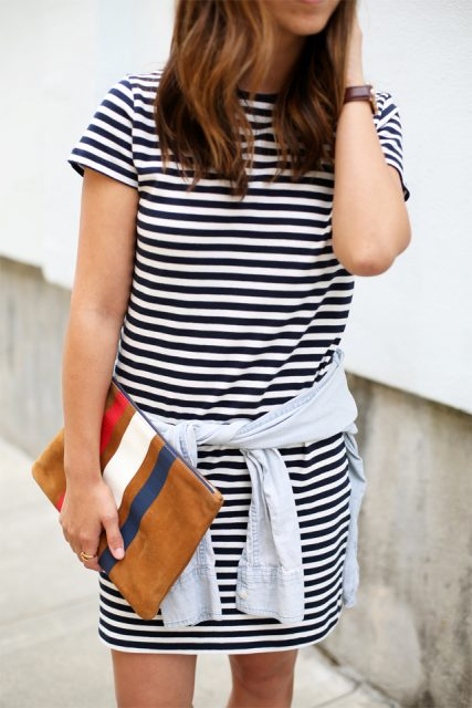 With striped mini dress and shirt