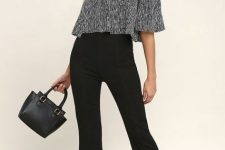 With striped off the shoulder top, black bag and ankle strap high heels