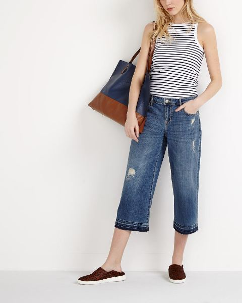 With striped top, two colored tote bag and printed flat shoes