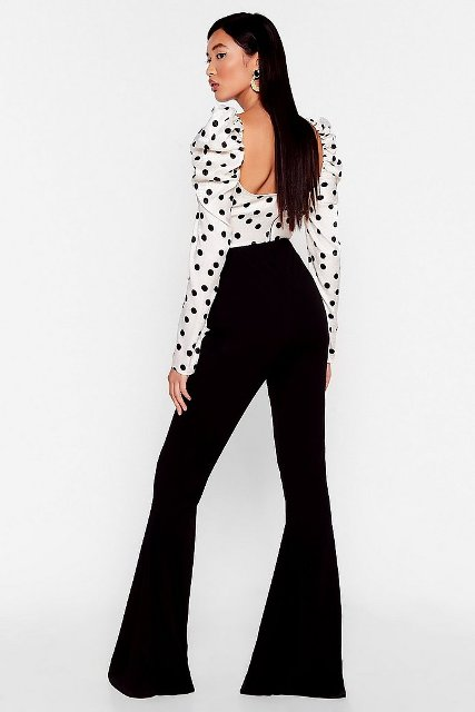 With white and black polka dot long sleeved blouse
