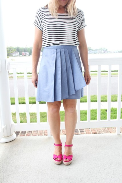 With white and black striped t-shirt and pink platform sandals