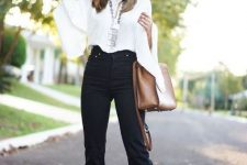 With white bell sleeved blouse, brown bag and silver necklace