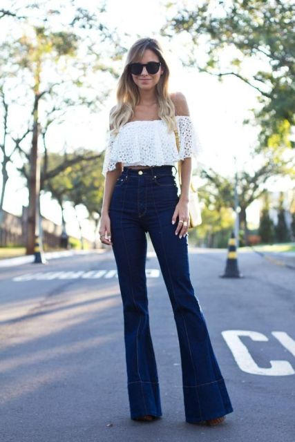 With white lace off the shoulder top and yellow bag
