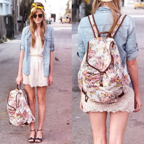 With white shirt, denim shirt, white lace mini skirt and ankle strap shoes