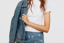 With white t-shirt and denim jacket