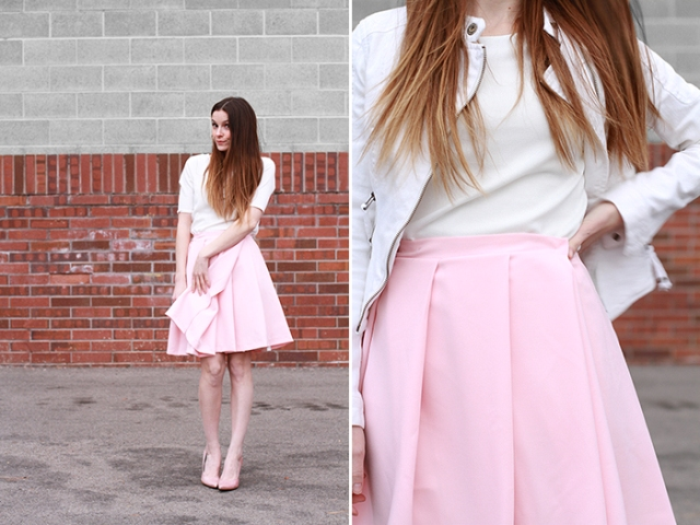With white t-shirt, white jacket and pale pink pumps
