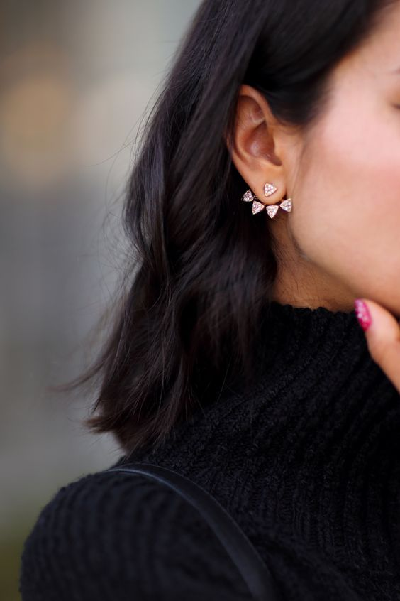 a beautiful triangle pink crystal jacket earring for an edgy and chic look