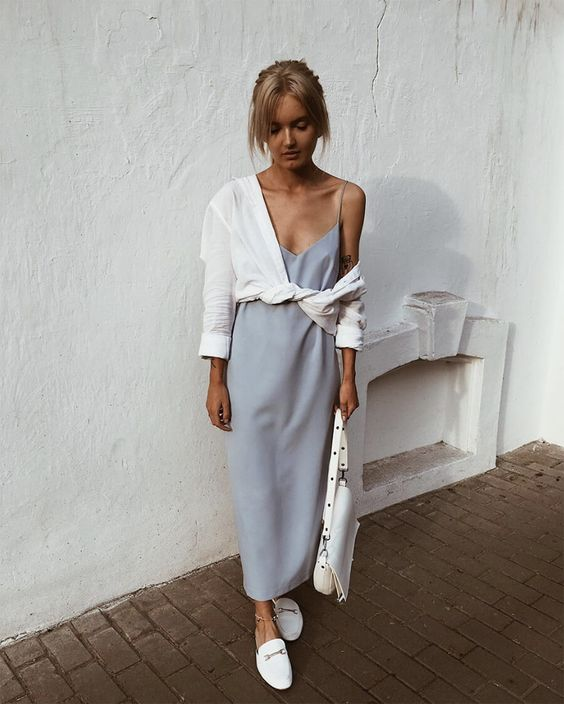 a grey slip dress, a white shirt coverup, white mules, a white bag and an anklet for a minimal and comfy look