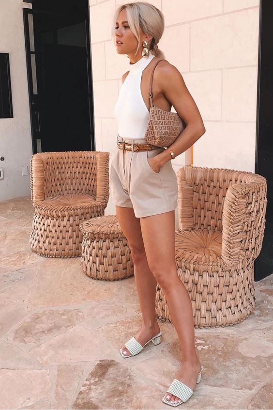 a hot summer day look with a white halter top, nude shorts, plaid slippers and a cute baguette bag