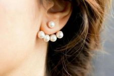 a modern take on classics – a pearl and gold jacket earring will accent your look with modern chic and elegance