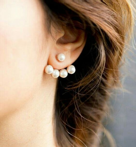 a modern take on classics - a pearl and gold jacket earring will accent your look with modern chic and elegance
