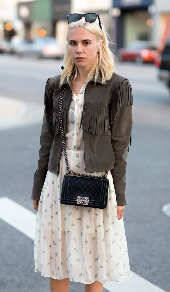 a neutral floral midi dress, a graphite grey fringe suede jacket, a black crossbody for the fall