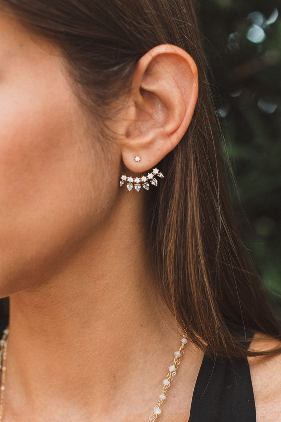 a refined ear jacket with a small stud and tine stars and spikes of gold and crystals is chic