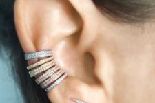 a rhinestone bold climber and stacked matching ear cuffs will make your look ultimately bold and refined