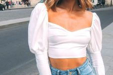 a sexy date look with a white puff sleeve crop top, blue high waisted jeans is a chic and trendy outfit
