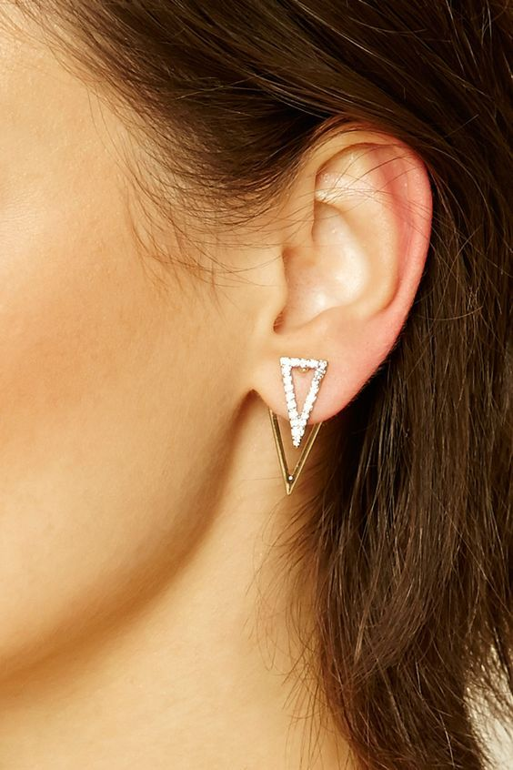 a stylish and shiny geometric jacket earring - a crystal triangle and a gold one for accenting you look in a modern way