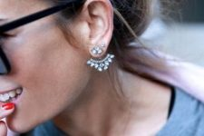 a super glam statement jacket earring of silver and crystals will accent your look at its best