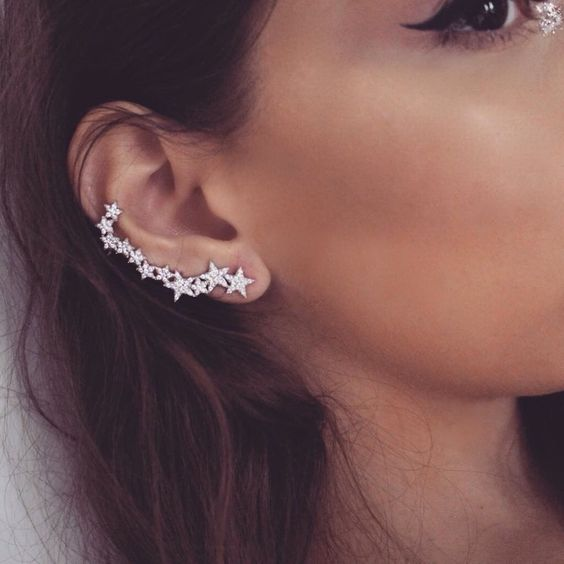 a tall rhinestone star ear climber is a gorgeous statement accessory for a special occasion