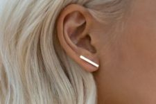 an ultra-minimalist gold bar climber earring for highlighting your minimal style easily and with chic
