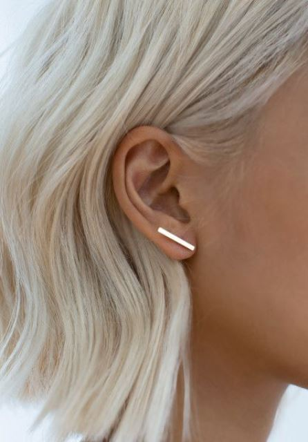 an ultra minimalist gold bar climber earring for highlighting your minimal style easily and with chic