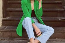 bleached cropped jeans, a black spaghetti strap top, a bright green blazer and green square toe heels
