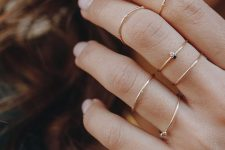 chic and very delicate gold rhinestone rings – usual and midi ones for a romantic look
