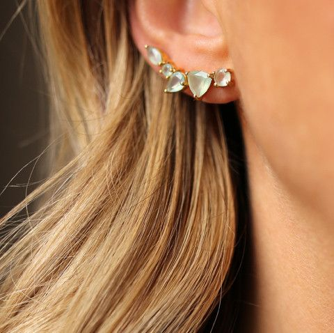 statement green rhinestone climber earring is a nice solution for a special occasion to rock