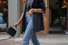 03 a black tee, blue cropped jeans, strappy minimal heels, a black fitting blazer and a black bag
