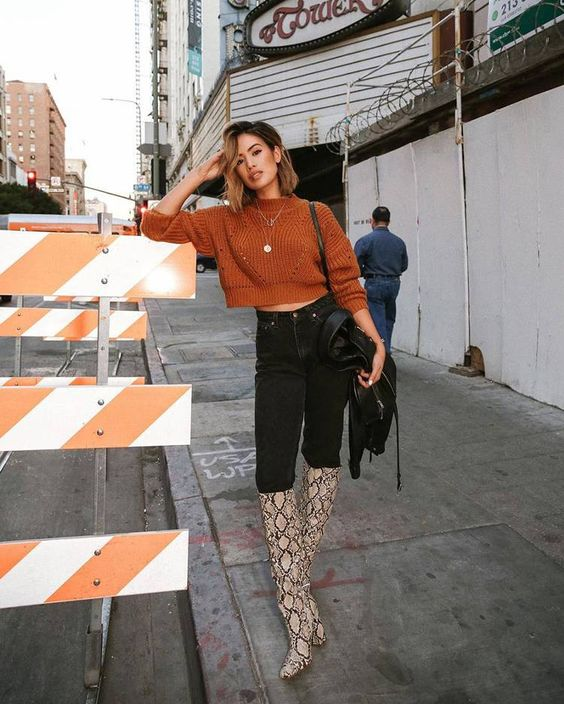 a stylish fall look with a cropped sweater