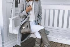 06 a neutral fall look with a white top, white skinnies, a grey coat, grey slouchy boots and a bag