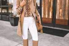 08 a cool fall outfit with an animal print turtleneck, white skinnies, a camel trench, tan slouchy boots and a camel bag