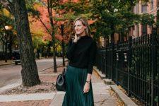 09 a black turtleneck, a hunter green plaid midi skirt, cognac slouchy boots and a black bag